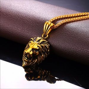 Other - New 18K Gold Lion Necklace